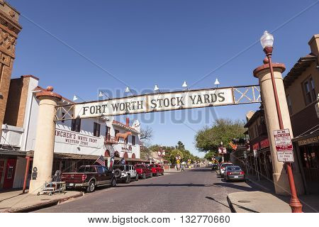 FORT WORTH USA - APR 6: Street in the Fort Worth Stockyards historic district. April 6 2016 in Fort Worth Texas USA