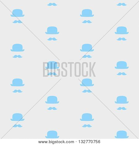 Vector seamless Mustache and hat pattern on the grey background. Suitable for fabrics textile print wrapping paper web background and other.