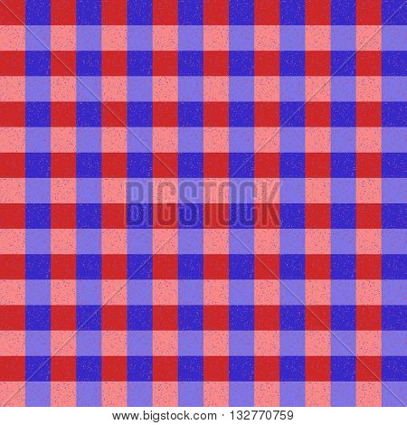 Red Blue and Pink Seamless Check Pattern With Speckle Effect