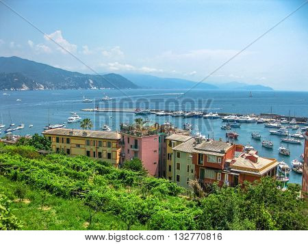 Panoramic view of the Italian Riviera Ligure with its famous resorts along the way between Portofino and Sestri Levante.