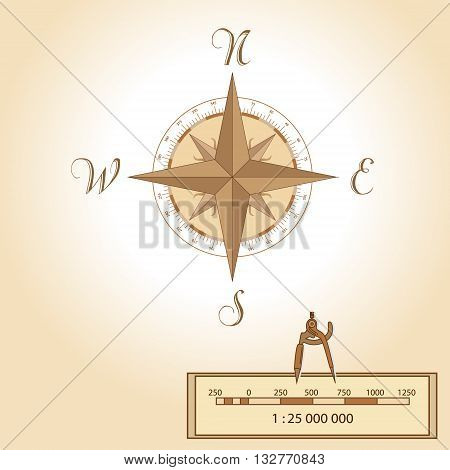 Wind rose illustration. Isolated vector. Element of an antient or old style map decoration. Wind rose is a tool of travellers to read maps. Shows North South East West