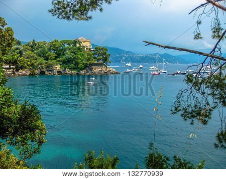 The scenic road between Portofino Natural Marine Area and Santa Margherita Ligure where you can find some of the most beautiful villas in the area and spectacular overlook. Genoa, Liguria, Italy.