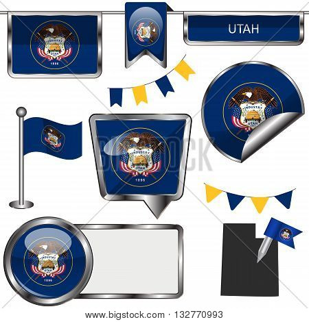 Glossy Icons With Flag Of State Utah