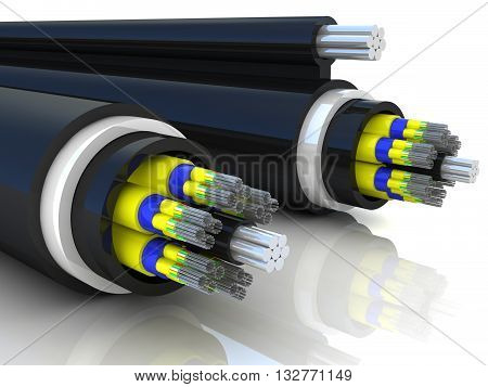 3d rendering of an optic fiber cable on white background