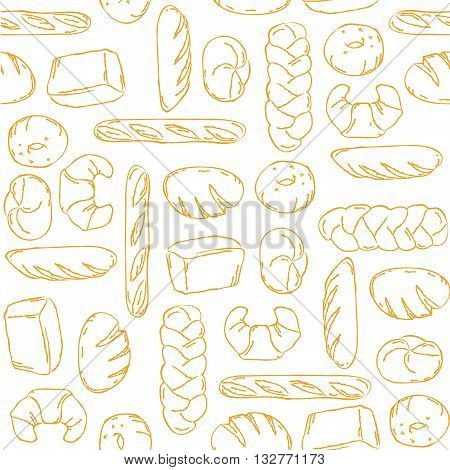 Vector. Bake Bread mix seamless background. Good for packaging wrapping paper or other accessories for bakery. White and beige pattern.