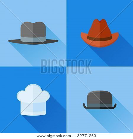 Set of hats flat icons. Bowler, chef, gangster and cowboy hats. Vector illustration.