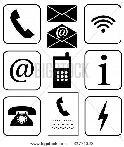 Vector. Set of icons. Public signs. Communication and info. Telecommunication icons. Phone wifi info mail e-mail fax charger.