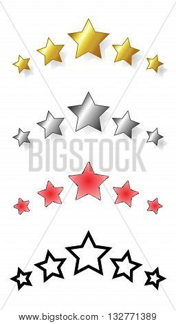 Set of five stars. range of award stars for services i.e. hotel spa resorts... Vector isolated illustration of five stars: golden silver red black.