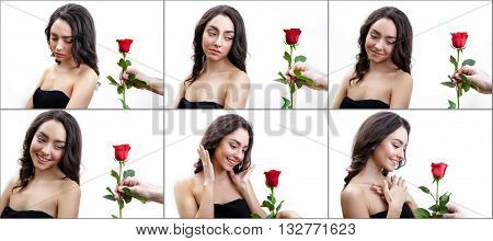 Beautiful angry girl receives one red rose. Her mood changed from angry to happy.  Men's hand holding one rose. Girl is white with bushy brown hair. Isolated on white background. A series of 6 photos.
