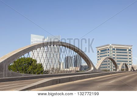 FORT WORTH USA - APR 6: The Wave shaped new West 7th Street Bridge in Fort Worth. April 6 2016 in Fort Worth Texas USA