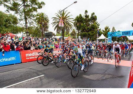 MELBOURNE, AUSTRALIA - FEBRUARY 1: Riders start the inaugral Cadel Evans Great Ocean Road Race