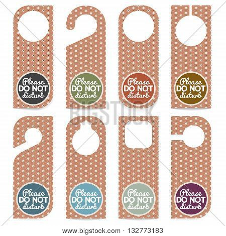 Set Of Door Hanger Please Do Not Disturb Vector Illustration. EPS 10