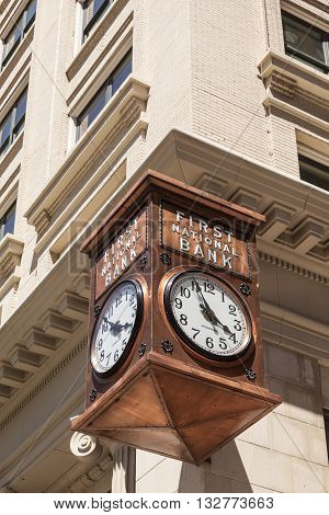 FORT WORTH USA - APR 6: The First National Bank Clock in the city of Fort Worth. April 6 2016 in Fort Worth Texas USA