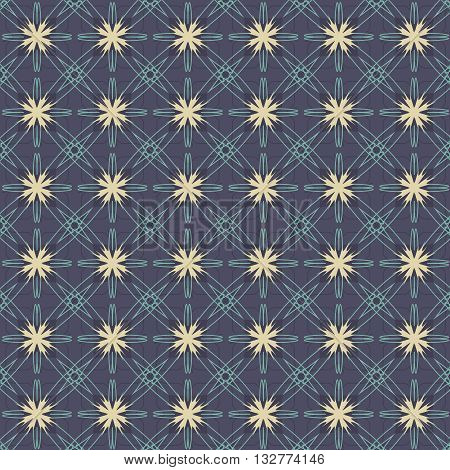 Vintage Flowers Graphic On Navy Blue Background Pattern Vector Illustration. EPS 10