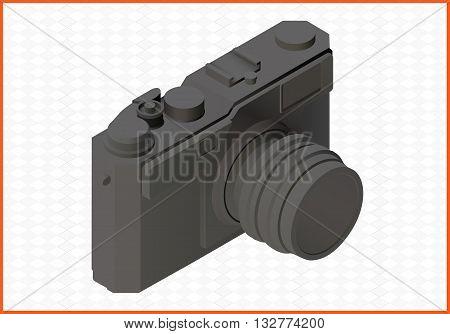 camera isolated on white background. photocamera isometric flat vector 3d illustration