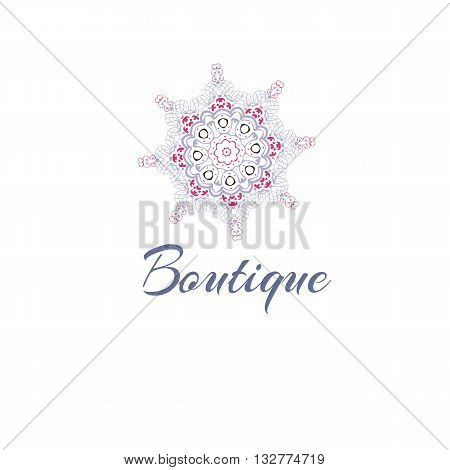 Gentle stylized logo. Company logo, stylized flower. Mandala logo. Business, invitations. Logotype with decorative elements. Retro Logo for boutique. Rigorous, concise logotype