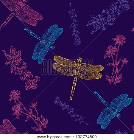 Dragonfly colorful seamless pattern dragonfly background hand drawn vintage sketch vector illustration