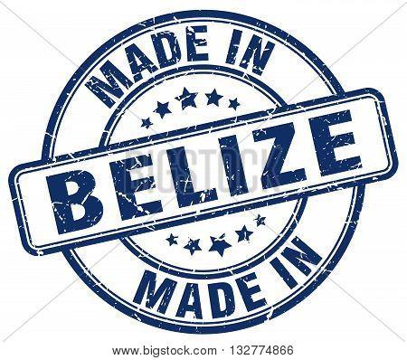 made in Belize blue round vintage stamp.