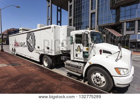 FORT WORTH USA - APR 6: Coors light beer delivery truck in the city of Fort Worth. April 6 2016 in Fort Worth Texas USA