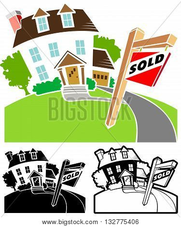 Emblem for Real Estate Agent, a house has been sold.