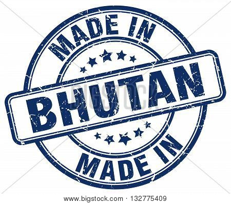 made in Bhutan blue round vintage stamp.Bhutan stamp.Bhutan seal.Bhutan tag.Bhutan.Bhutan sign.Bhutan.Bhutan label.stamp.made.in.made in.