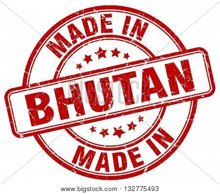 made in Bhutan red round vintage stamp.Bhutan stamp.Bhutan seal.Bhutan tag.Bhutan.Bhutan sign.Bhutan.Bhutan label.stamp.made.in.made in.