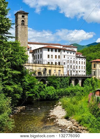 View of Castelnuovo di Garfagnana a small old town in Tuscany