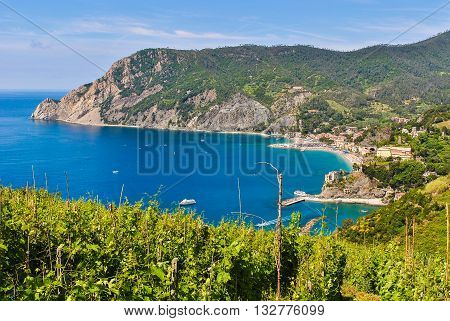 Panoramic view of the coastline near Monterosso, one of the