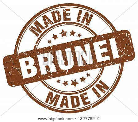 made in Brunei brown round vintage stamp.Brunei stamp.Brunei seal.Brunei tag.Brunei.Brunei sign.