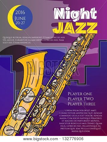 Jazz music night jazz in the big city poster saxophone live music