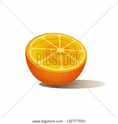 Citrus Fruits. Sliced orange. Orange isolated on white. Fresh orange wedge Concept. Organic natura fruitl. Tropical citrus. Natural dieting fruit dessert. Vector Illustration