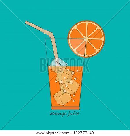 Citrus Fruits. Sliced orange in glass bubbles ice cubes. Fresh orange juice Concept. Organic natural fruit. Natural fruit squeezed. Vegetarian fresh healthy fitness juice. Vector Illustration