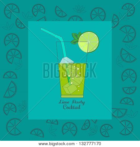 Cocktail Party Invitation Poster. Green fresh cocktail concept. Cocktails menu. Lime ice cubes mint in glass. Refreshing beverage cool drink. Vector illustration.