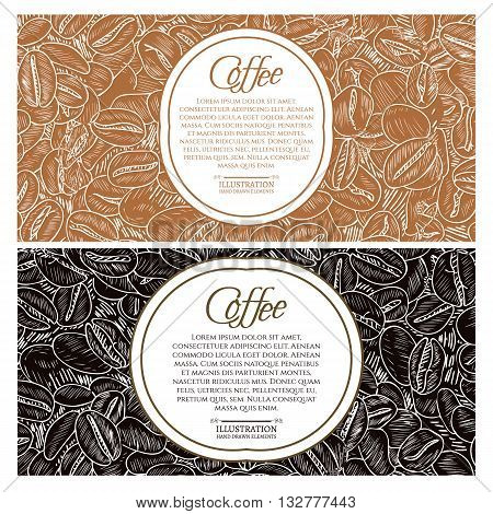 Black coffee and cappuccino concept roasted coffee beans hand drawn vintage sketch vector illustration