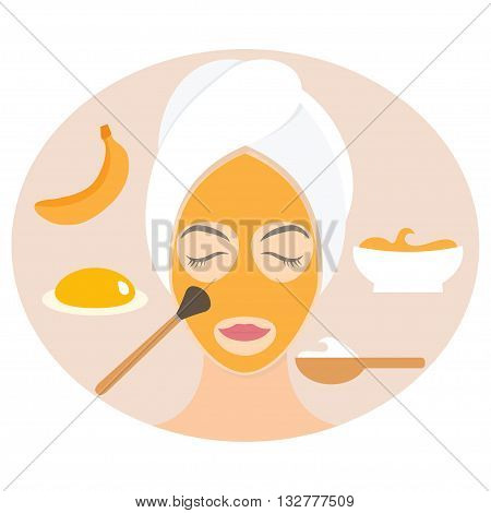 Flat Design Woman In Natural Mask Of Yogurt, Egg Yolk And Banana. Vector Illustration