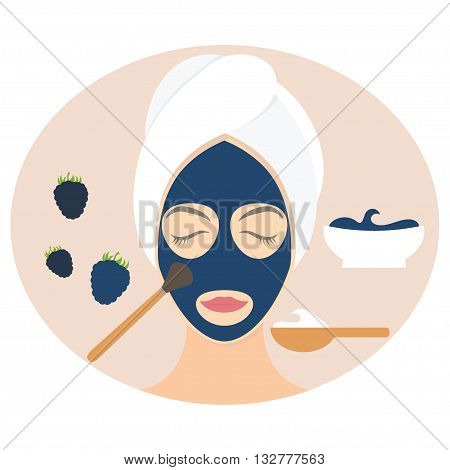 Flat Design Woman In Natural Mask Of Yogurt, Egg Yolk And Blackberry. Vector Illustration