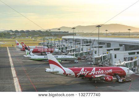 Kuala Lumpur Malaysia - February 28 2016 : Early morning beautiful sunrise in the Kuala Lumpur International Airport 2 (KLIA 2) in Sepang.
