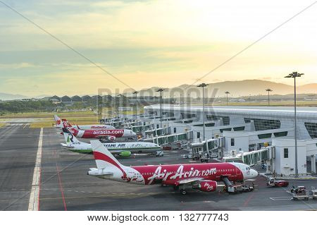 Kuala LumpurMalaysia - February 28 2016 : Early morning beautiful sunrise in the Kuala Lumpur International Airport 2 (KLIA 2) in Sepang.
