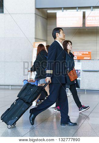 Asian Korean Air Flight Steward At The Incheon International Airport