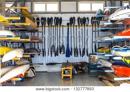 warehouse for storage of boats canoes and kayaks paddle