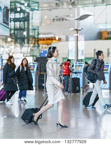 Asian Korean Air Flight Stewardess At International Airport Of Incheon