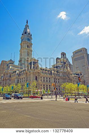 Philadelphia City Hall With William Penn Figure On The Tower