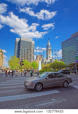 Philadelphia City Hall With William Penn Sculpture Atop The Tower