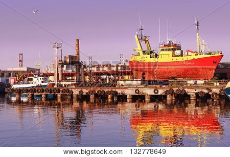 Ship In The Marina In Ventspils At Sundown