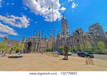 Square With Sculptures And Philadelphia City Hall