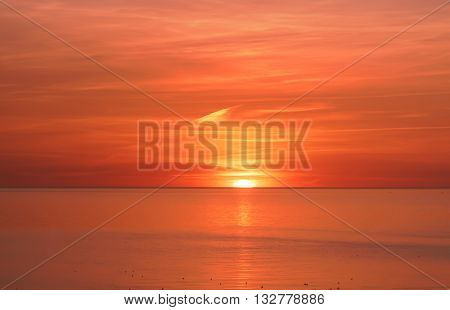 Sundown on the Baltic Sea of Ventspils in Latvia. Ventspils a city in the Courland region of Latvia. Latvia is one of the Baltic countries