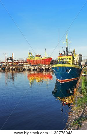 Two Ships On The Marina In Ventspils In Latvia