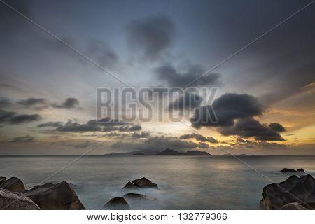 La Digue Coast Sunset, Seychelles