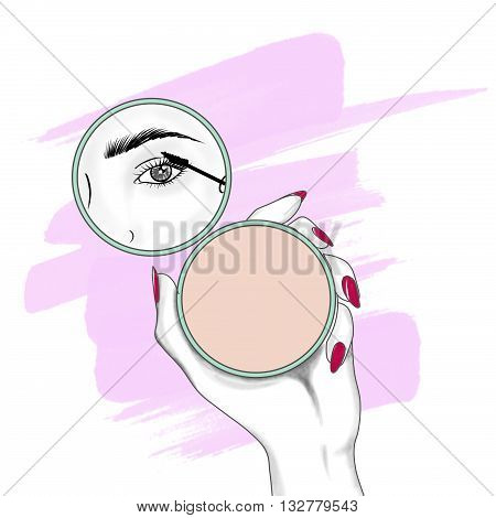 fashion and beauty hand drawn raster illustration - woman applying mascara