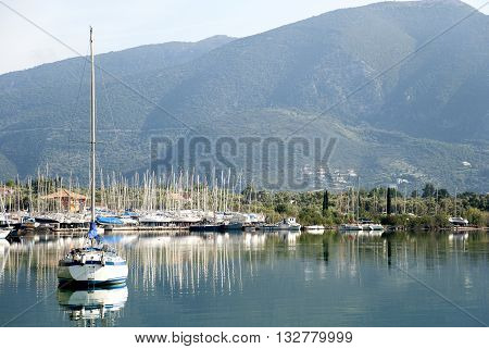 Europe Greece. The parking of yachts in the gulf on the island of Corfu.